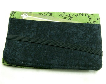 Business Card Holder Mini Wallet- Bifold Inside Outside Wallet in Black and Olive Green Floral Fabric