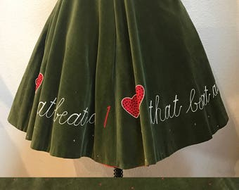 1950s Valentines Day Novelty Print Skirt