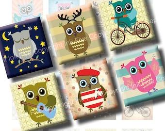 Little Owls printables & downloads scrabble tile images 0.75x0.83 inch squares. Digital Collage Sheets for kids pendant. Digital images