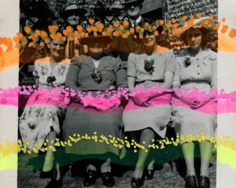 Happy Art Collage - Group Of Smiling Women Vintage Photo, Altered Art, Elegant Framed Artwork