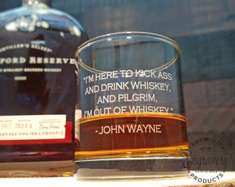 John Wayne Personalized Whiskey Glasses, Engraved Rocks Glass, Custom Whiskey Glass, Engraved Scotch Glass, Bourbon Glass, John Wayne Gifts
