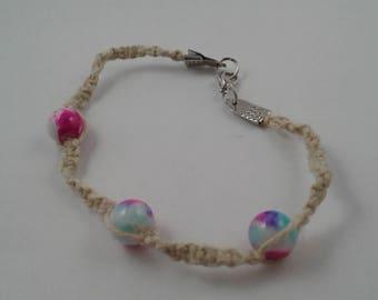Boho Hemp Macrame Beaded Bracelet