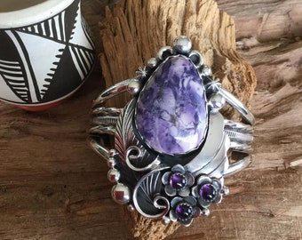 Tiffany Stone and Amethyst Cuff Bracelet, Artisan Handmade,  Sterling Silver, Southwestern Style