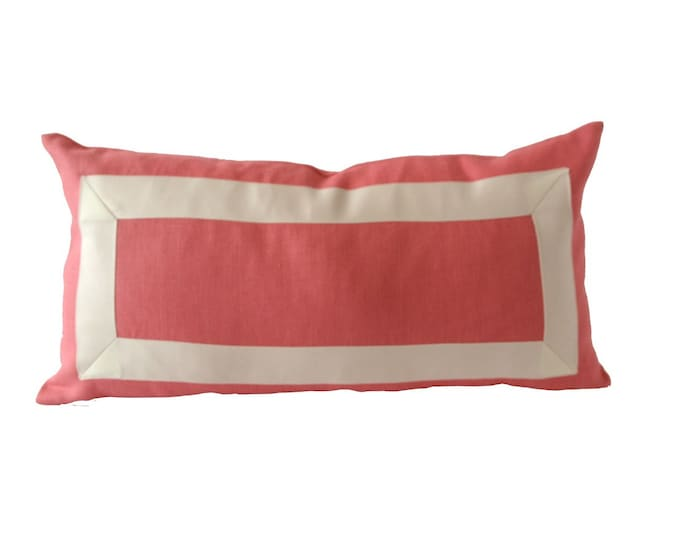 Decorative linen Pillow Cover in Coral Pink Linen with Off White Grosgrain Ribbon -10x20 TO 12x24  LINEN Cushion Cover