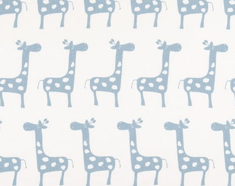 "Premier Prints Fbric-GIRAFFE White Weathered Blue-or color Choice-Premier Prints Fabric by the yard 54"" wide-1 yard"
