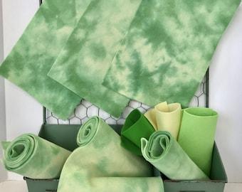 Hand Dyed Wool, Pure Merino Fiber, Felt Sheet, Ivy, NonWoven Fabric, Wool Felt Set, Embroidery Floss