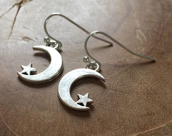 Moon and Stars - silvertone dangling earrings with metal crescent moon and star charm - boho, bohemian, gypsy, hippie, sky, night, trend
