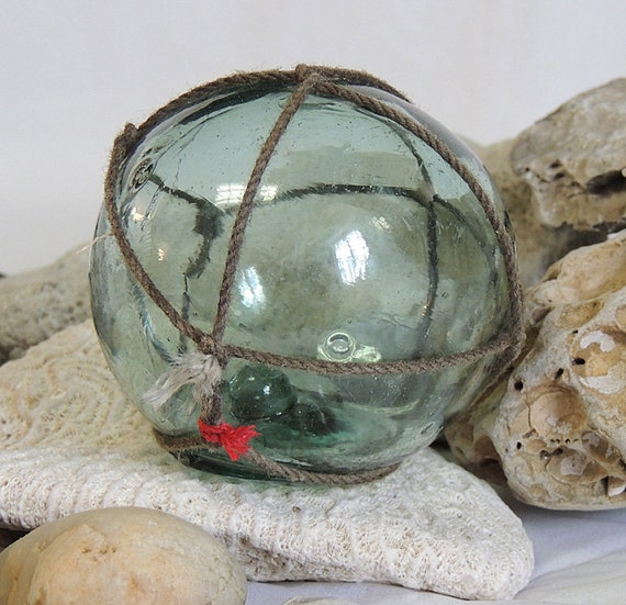 Vintage Japanese GLASS FISHING FLOAT With Full Original Net & Makers Mark (# 71)