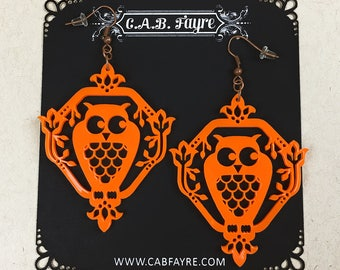 READY MADE SALE - Whimsical Owl Earrings - Sunset Orange Owl - Laser Cut Acrylic Owl Earrings