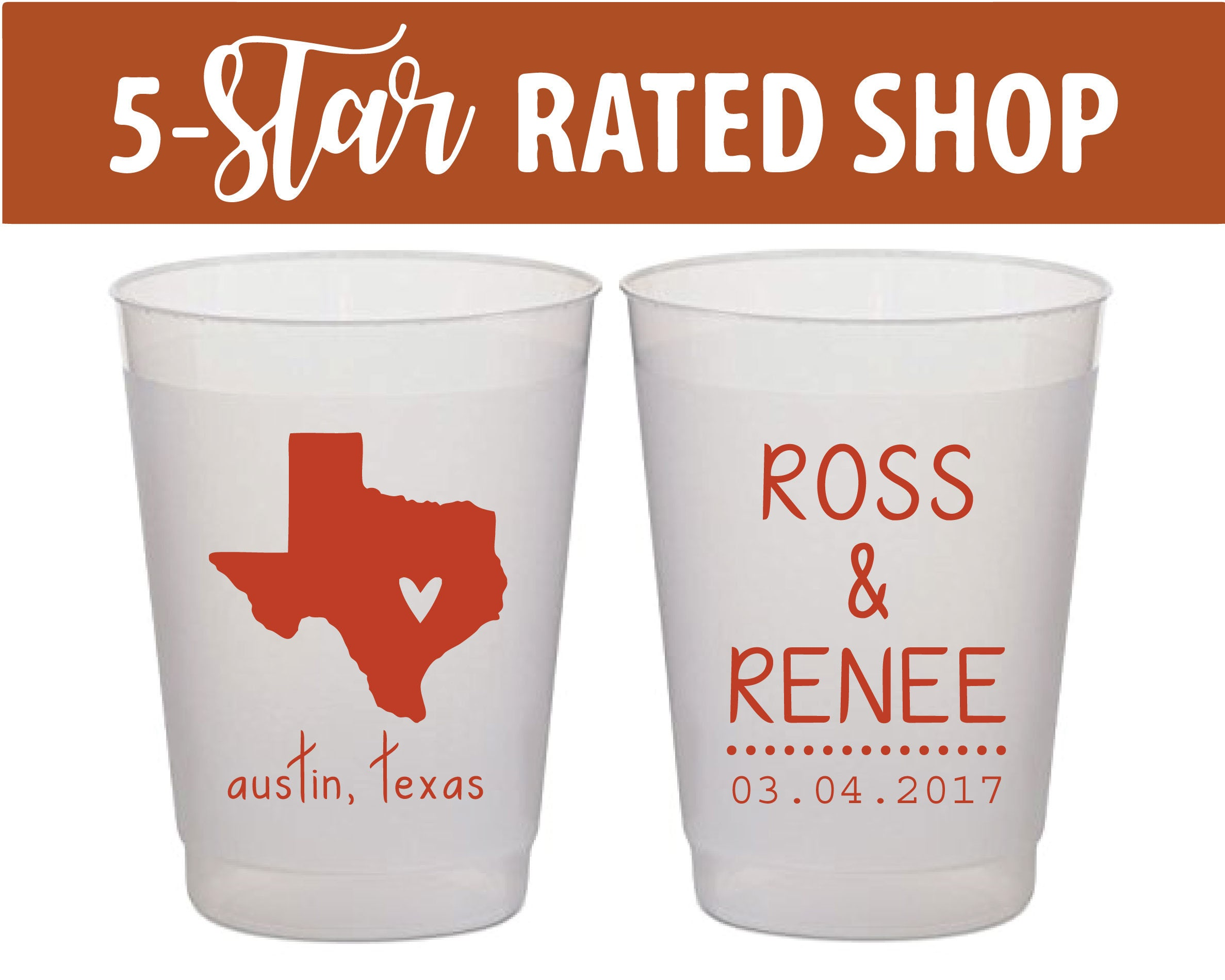 Frosted Texas Cups Custom Wedding State Cups with State Map