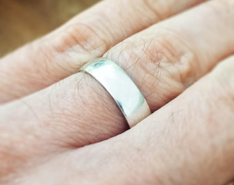 Men's Wedding Band Ring - 3D Printed Sterling Silver