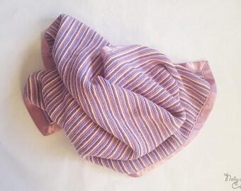 Pink satin ribbon Merino baby blanket
