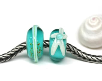 Artisan lampwork Big hole beads Teal green European charms Starfish Beach jewelry Large hole beads SRA MayaHoney