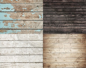 """SAMPLE PACK / FOUR 12"""" x 12""""  / Wood Floordrops / Vinyl Photography Backdrops for Product Photos"""