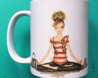 Yasmin Yoga, Coffee Mug, Fashion illustration, Bella Pilar, Fashion mug