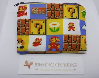 Cloth purse Mario Bros with zipper / geek wallet for bills and coins gift for her women hand bag clutched  pouch purses and bags Nintendo