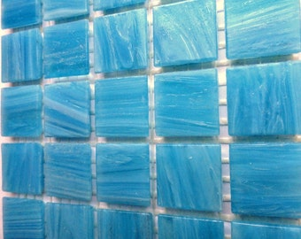 "20mm (3/4"") Turquoise Blue and White Marbled BEVELED Glass Mosaic Tiles//Mosaic//Mosaic Supplies"