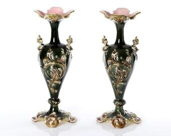 Antique  pair  vases-Julius Dressler majolica- rare antique vases-pair of Dressler vases-1930