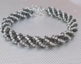 Swarovski crystal bracelet black crystal bracelet handmade bracelet bead jewelry silver bracelet beaded bracelet