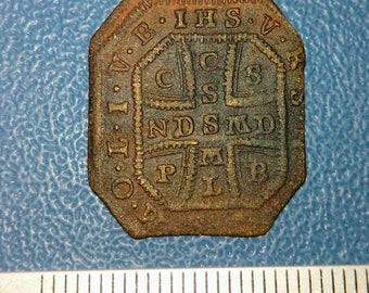 IHS old Jesuit brass medallion of the 19th centuries