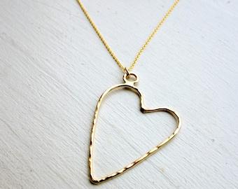 Floating Heart Pendant - Handmade Hammered 14k Gold Filled Heart Necklace