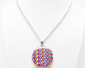 Multicolor Round Photo Locket Pendant Necklace