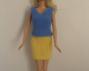 Doll clothes for Barbie, skirt and top