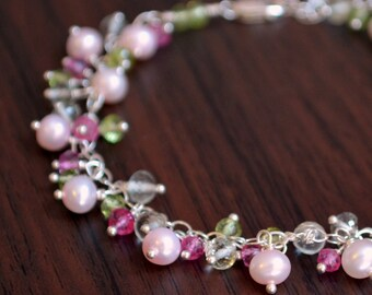 Spring Wedding Bracelet, Sterling Silver, Peridot Green Amethyst Gemstone, Pink Freshwater Pearl Jewelry - Rosebud - Free Shipping