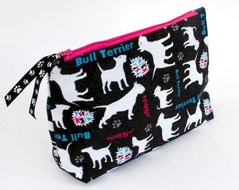 Bull Terrier make-up bag , EBT vanity case, Cosmetic Bag Psiakrew