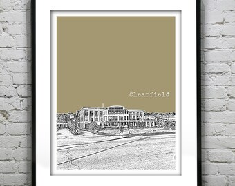 Clearfield Utah Poster Print Art Skyline UT