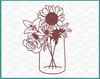 CLN0154 Sunflower Jar Flowers Roses Leaves Harvest Fall SVG DXF Ai Eps PNG Vector Instant Download Commercial Cut File Cricut Silhouette