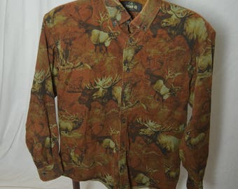 Mens Redhead All Over Moose button Front Long Sleeve Shirt - Size Medium