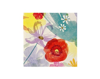 Toot Sweet Painted Flowers Paper Napkin, Small, Meri Meri, Party Supplies, Tableware, Easter, Spring, Mother's Day, Party Theme