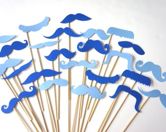 Photo Booth Props  - Mustache Bash - Set of 24 Aqua and Blue Mustaches on a stick - Photobooth Props Party Props
