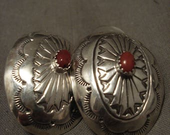 Huge Vintage Navajo Coral Silver Concho Earrings