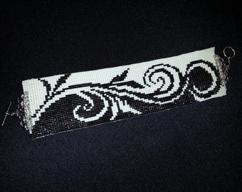 Cuff Bracelet Hand-Beaded in Black & White – FREE shipping (USA)