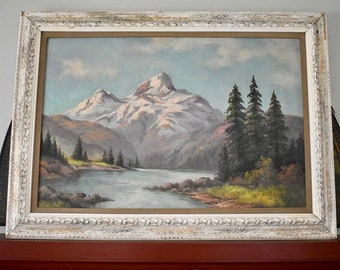 Original Oil Painting Mountain Landscape Framed, Vintage Oil Painting, Vintage Mountain Landscape, Signed Oil Painting