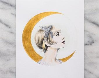 "Green Light - 8x10"" Hand Embellished Limited Edition Fine Art Print by Kayla Stanz - The Great Gatsby - Daisy Buchanan"