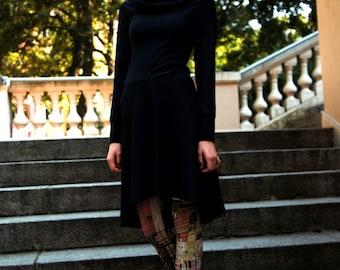 Hoodie dress in black, cotton dress, hoodie dress, black dress, cotton dress, hooded dress