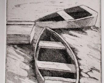 Original Fine Art Etching, in the Cove