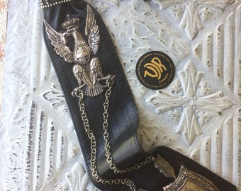Necktie of leather with 19th century Italian militaria in silver