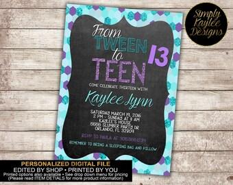 Purple and Teal Sequined Tween to Teen Birthday Invitation - 13th Birthday Invitation