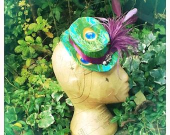 Ladies Tilt Hat - Mini Top Hat - Peacock Glam