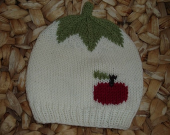 Apple Harvest 4: Baby and children's cap with red apple from 100% merino wool-in many sizes