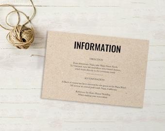 Wedding Enclosure Card, Details Card, Information card, Printable, Wedding Enclosure, Info Card, Template, PDF, Kraft paper, rustic #SPP012