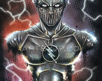 The Flash | Zoom | CW | Bust Painting | 11x17 | Poster | Print | Geek| Gift | Comics | Superhero | Villain