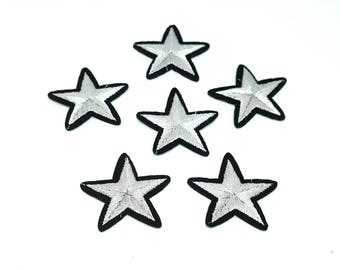 Star patch / set of 6 patches fusing stars / stars embroidered patch / applied silver stars
