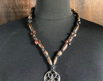 Seed Of Life & Buddha Face Bohemian Macrame Necklace