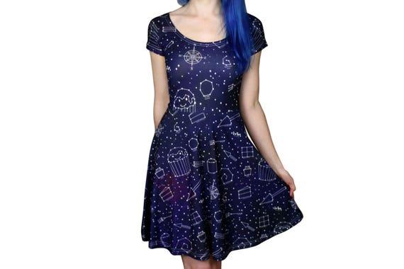 Sternenklare Nacht Kleid Größe 6-20 Galaxy / Platz /
