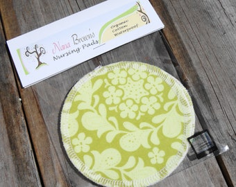 Nursing Pads, Waterproof Organic Cotton Flannel - Chartreuse Swirl